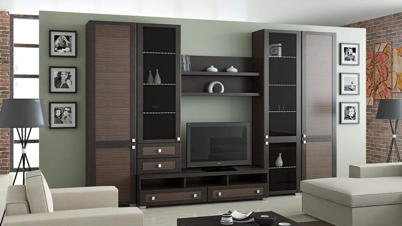 Коричневая корпусная мебель для гостиной