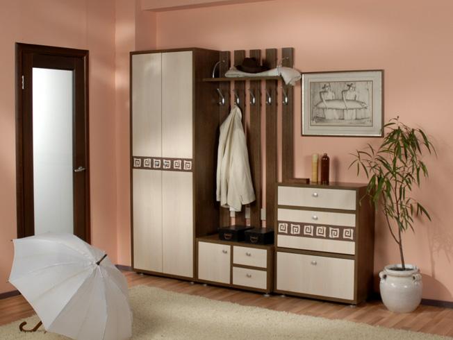 Коричневая мебель для обустройства коридора