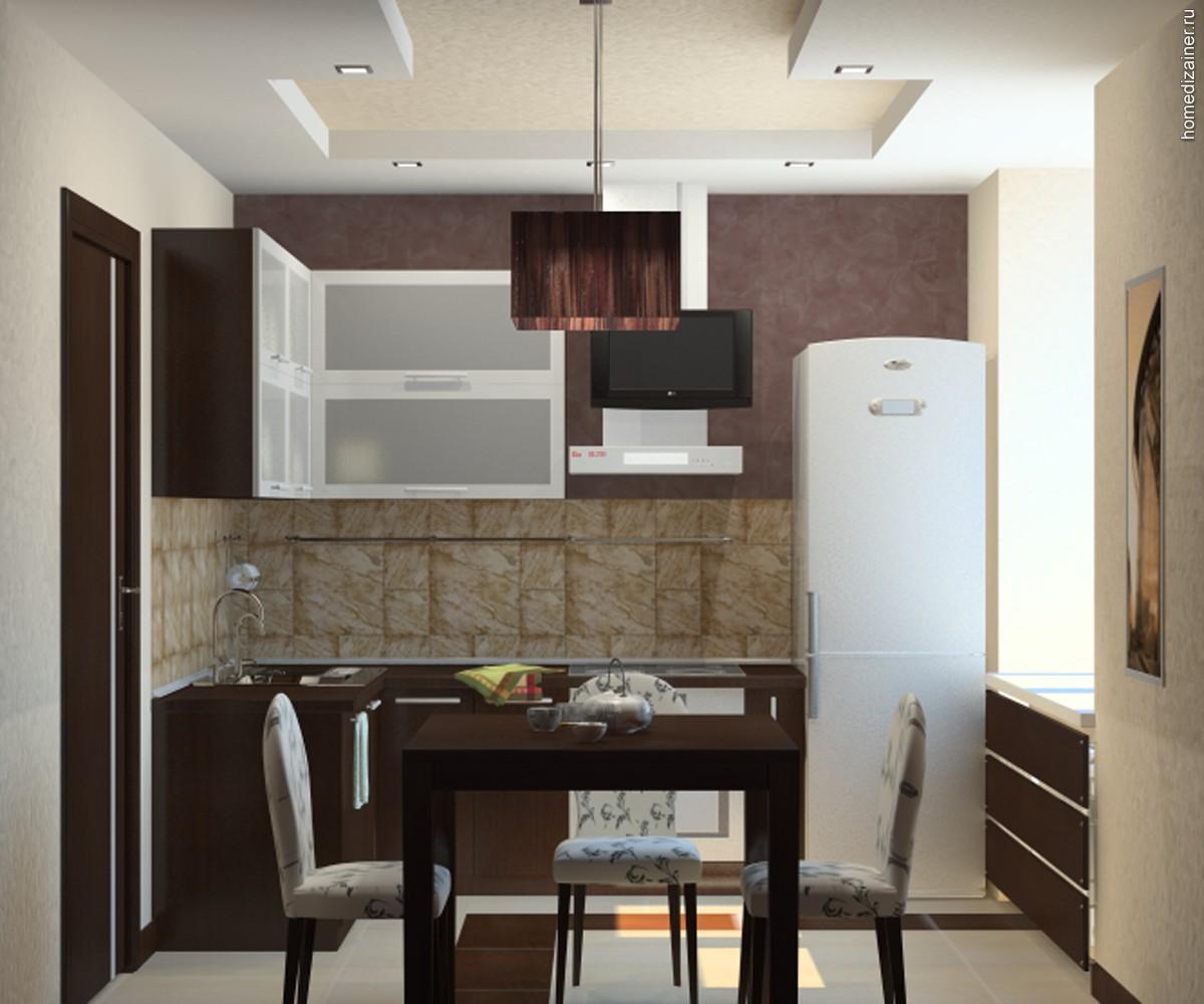 Коричневая мебель для обустройства кухни в доме