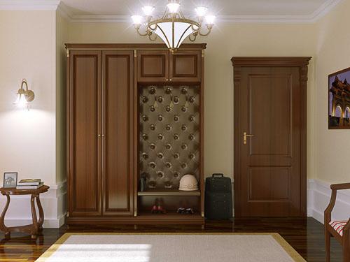Коричневая мебель для прихожей классического стиля