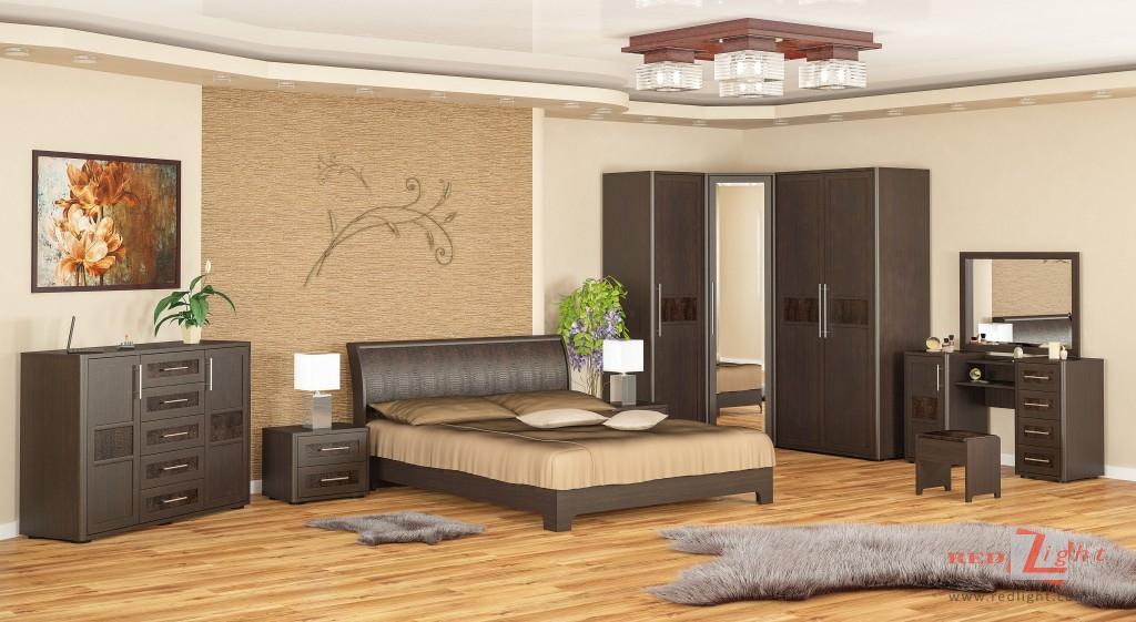 Коричневая модульная мебель для спальни