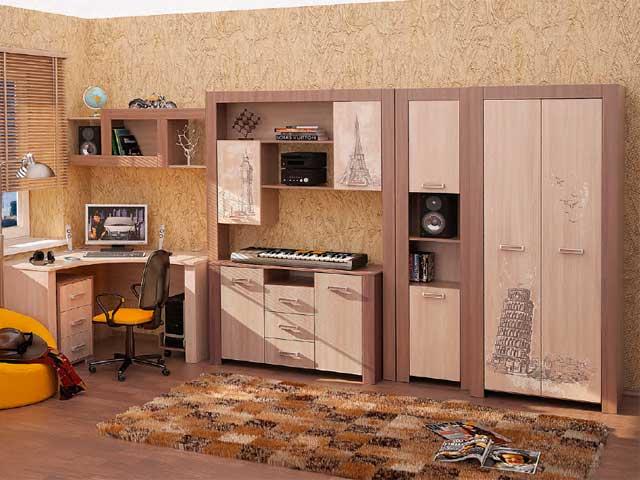 Коричневая подростковая мебель