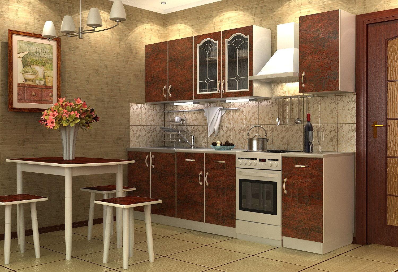 Коричневый набор корпусной мебели для кухни