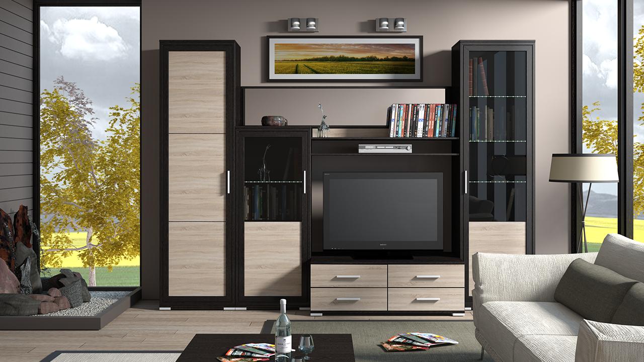 Корпусная мебель для гостиной комнаты в современно направлении