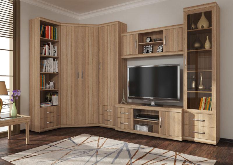 Корпусная угловая мебель для обустройства гостиной