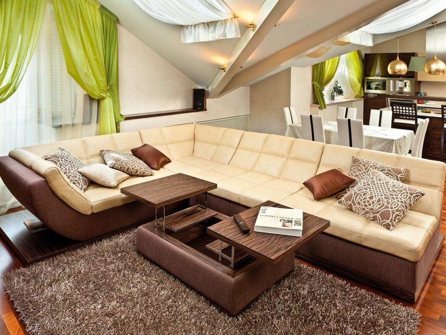 Кожаная мягкая угловая мебель для обустройства гостиной