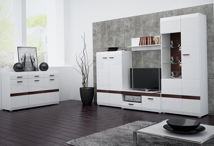 Красивая мебель для гостиной с глянцевой поверхностью