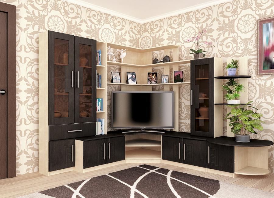 Красивая угловая мебель в гостиной