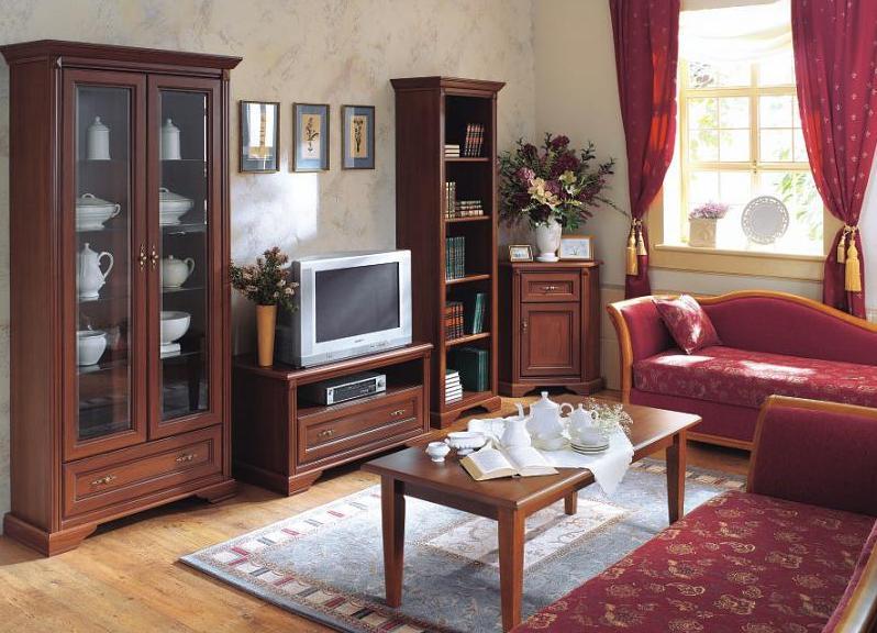 Красная мебель в гостиную классического стиля