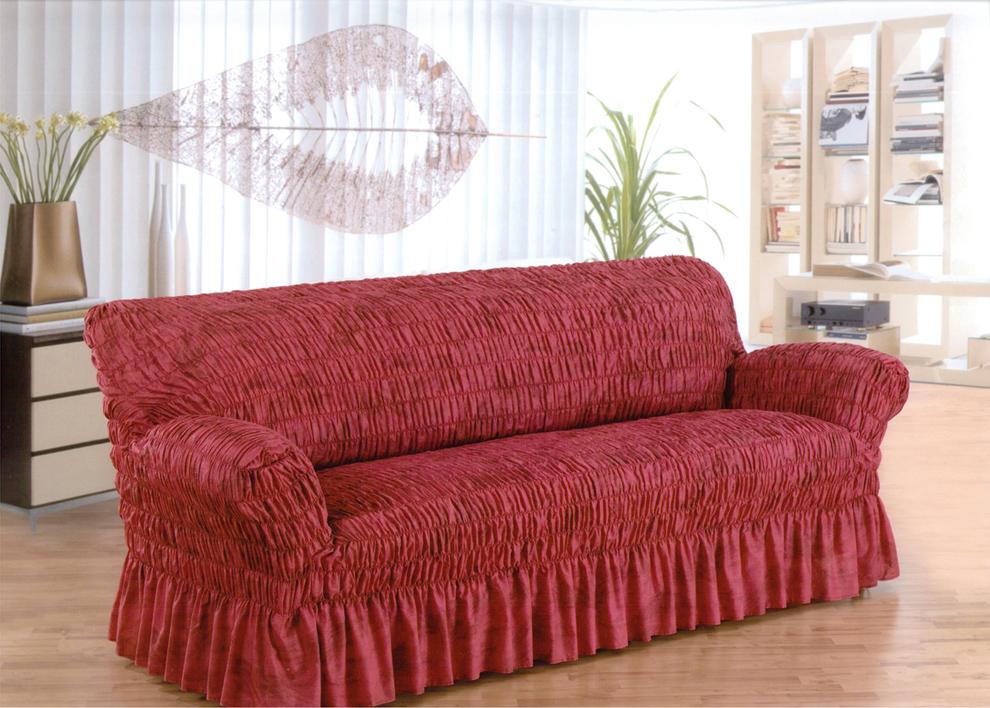 Красные еврочехлы на мягкую мебель
