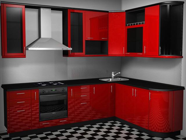 Красные крашеные фасады для кухни