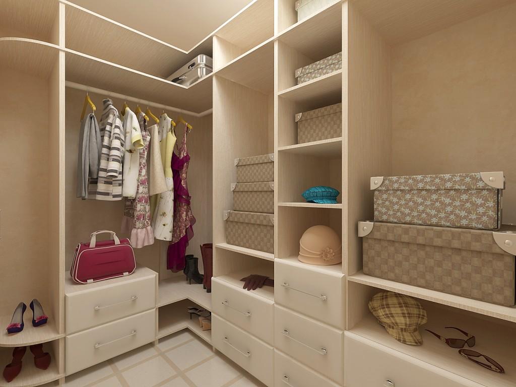 Маленькая гардеробная комната в кладовке с зонированием