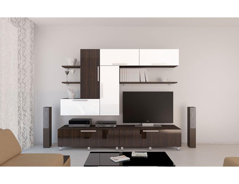 Мебель для гостиной с глянцевой поверхностью