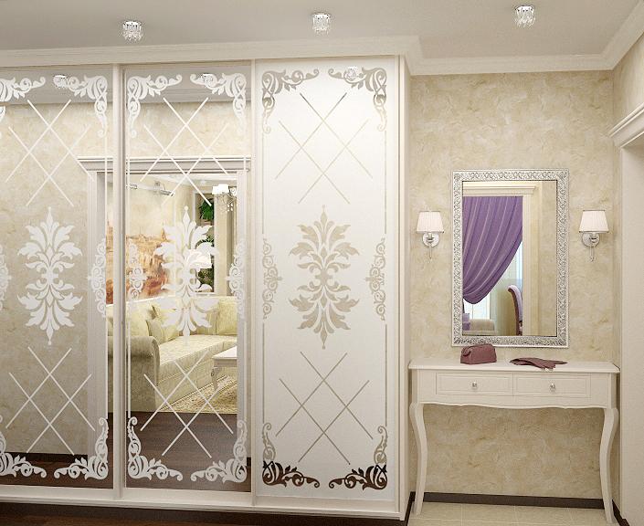 Мебель для прихожей классического стиля стекло