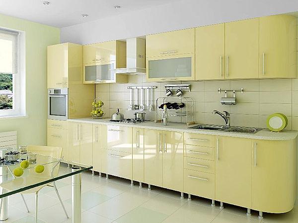 Мебель на кухне в одну линию