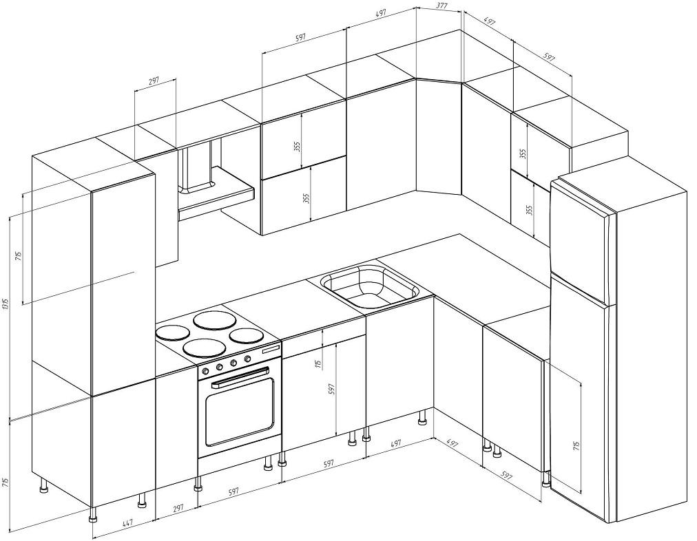 Модели, схемы расположения и размеры гарнитуров