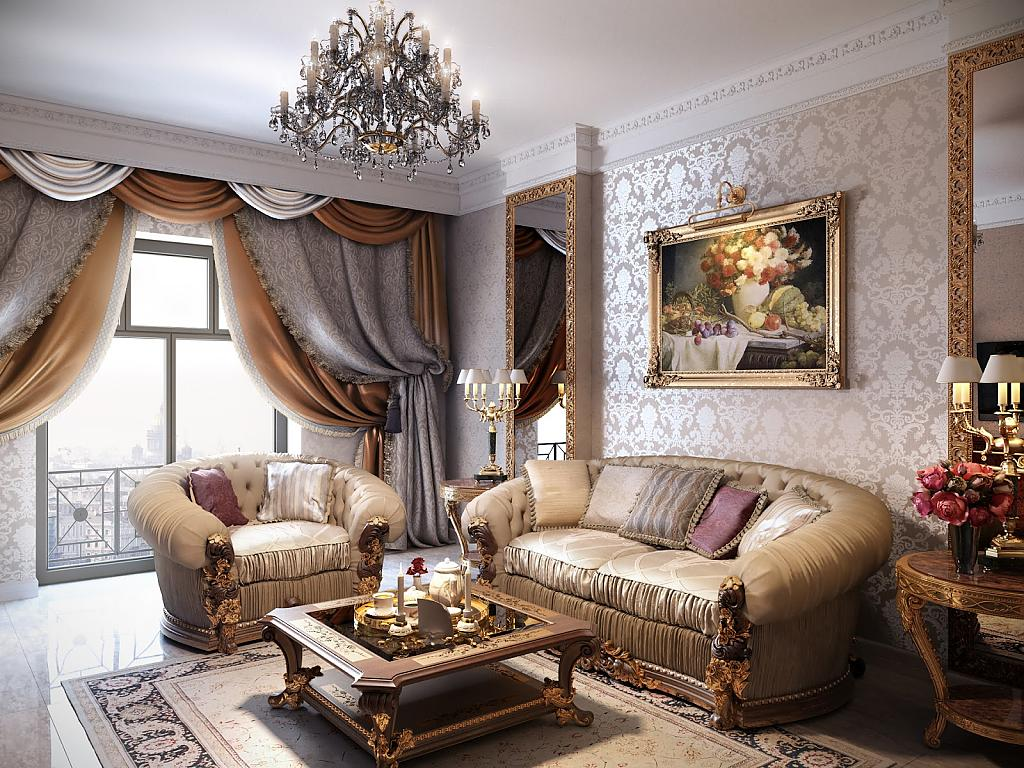 Мягкая удобная мебель в гостиную классического стиля