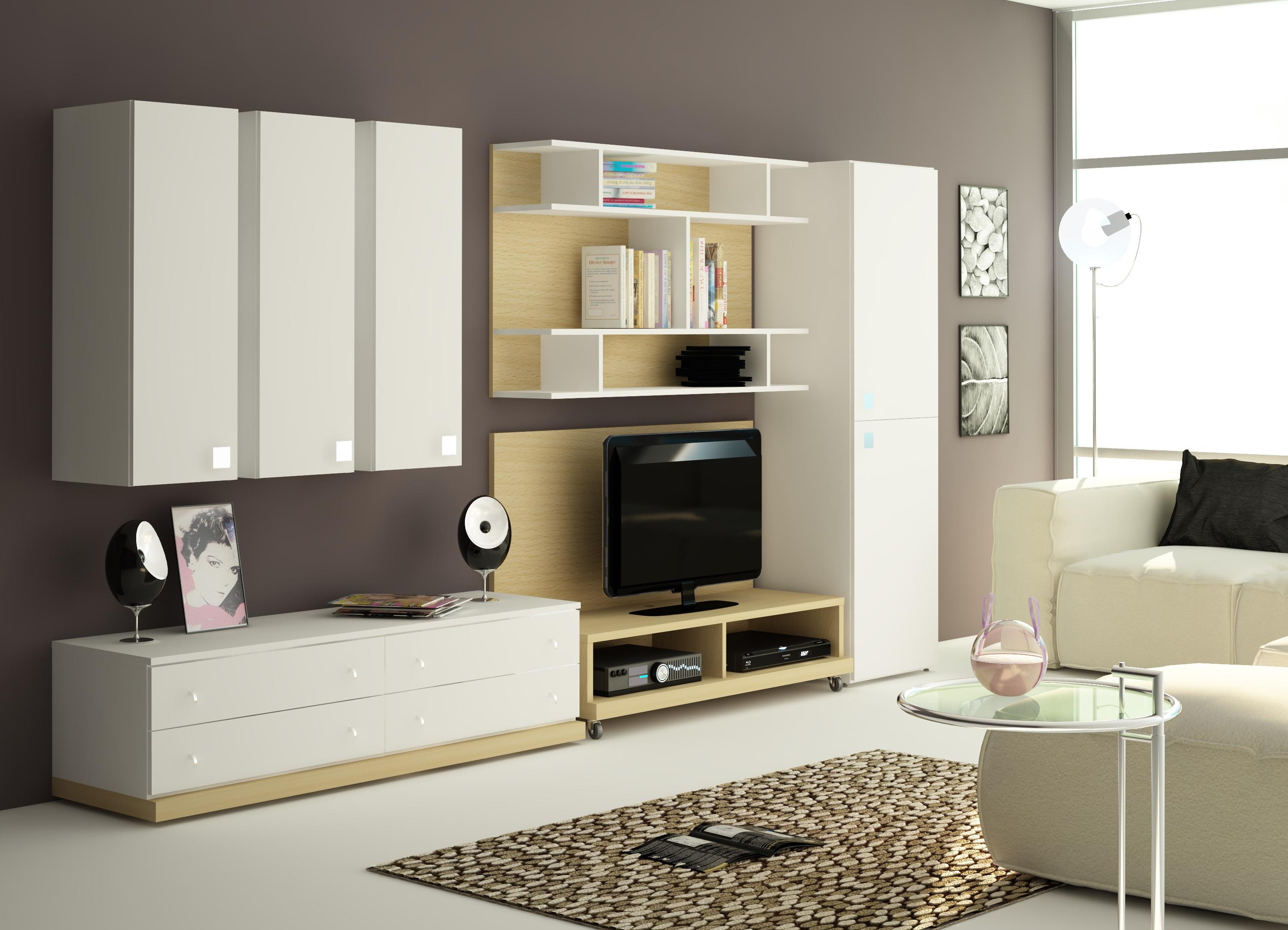 Небольшая гостиная с современной стильной мебелью