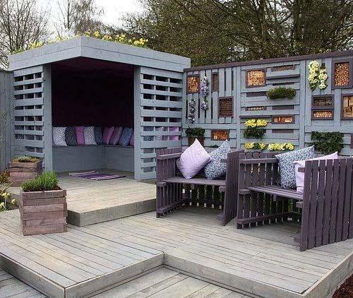 Недорогая садовая мебель из поддонов