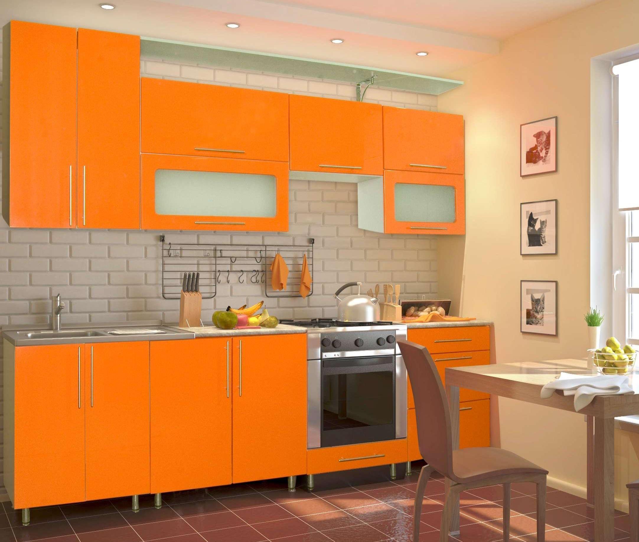 Оранжевая корпусная мебель для кухни