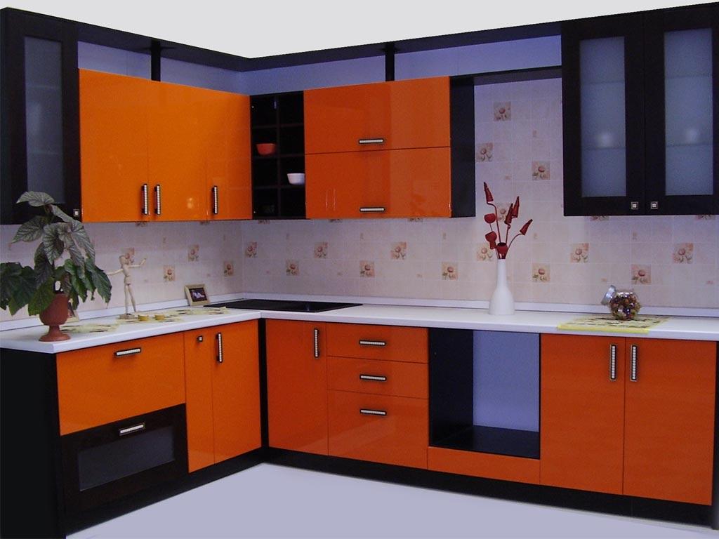 Оранжевая мебель для оформления кухни