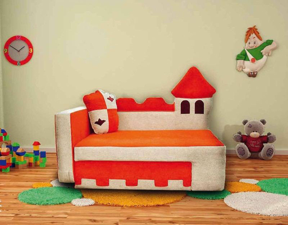Оранжевая мягкая мебель для детсткой комнаты