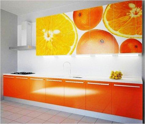Оранжевая самоклеющаяся пленка для кухонного гарнитура