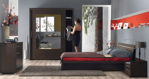 Оригинальное расположение мебели в спальной комнате