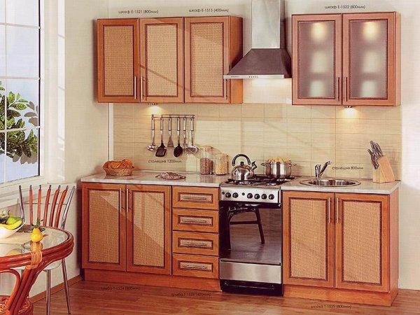 Отделка ротангом мебели на кухне