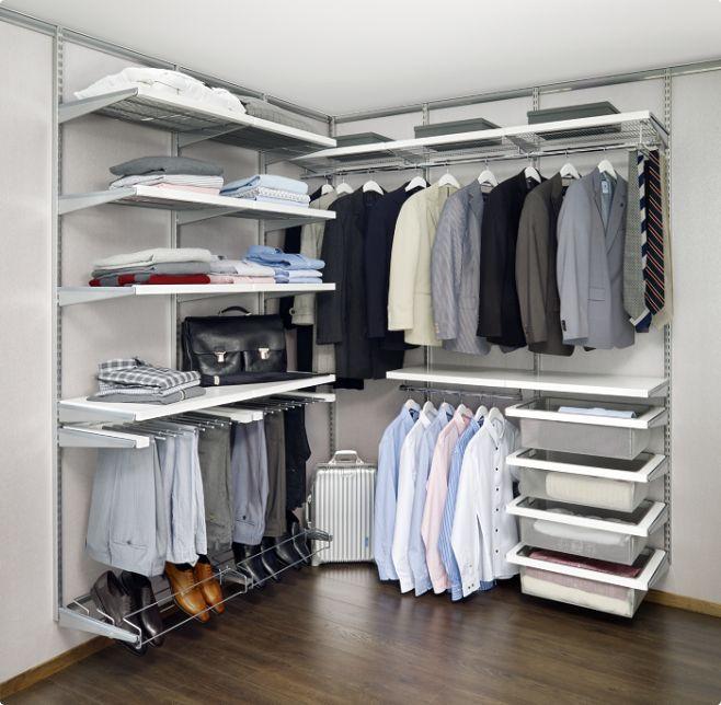 Открытая угловая гардеробная комната