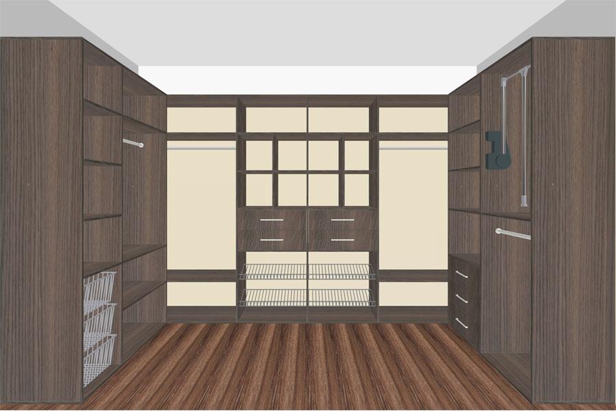П образная гардеробная комната