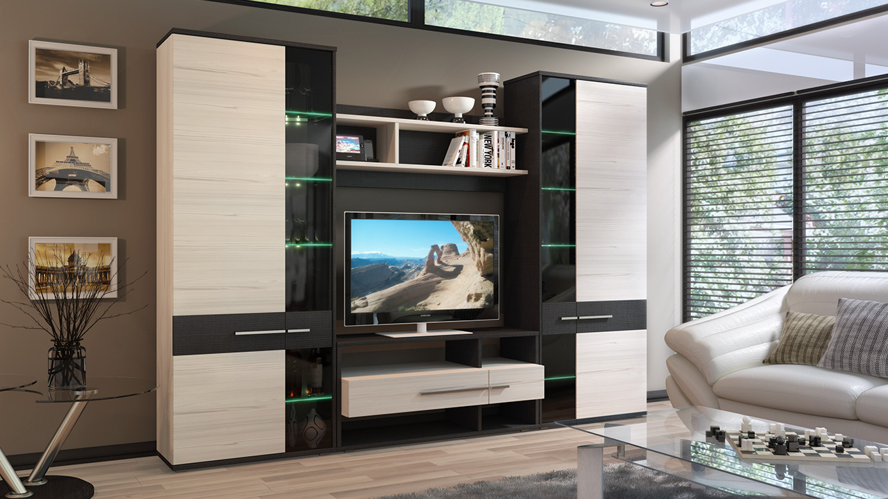 Практичная корпусная мебель для гостиной
