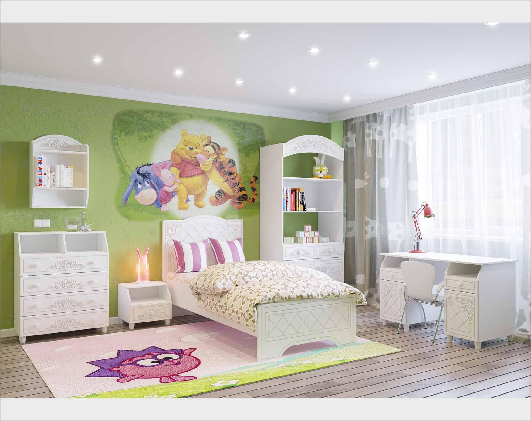 Практичная мебель белого цвета для детской