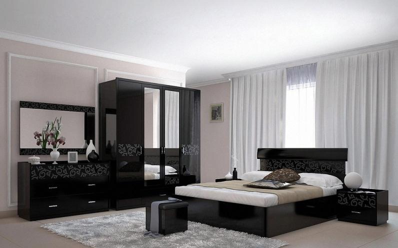 Практичная мебель для гостиной с глянцевой поверхностью