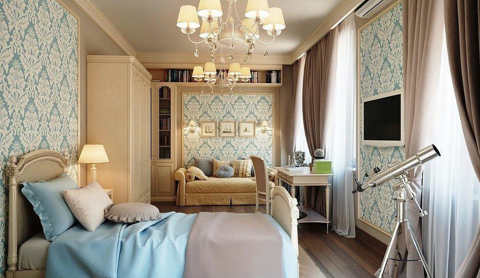 Практичное асимметричное расположение мебели в спальне