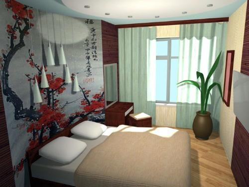 Практичное круговое расположение мебели в спальне