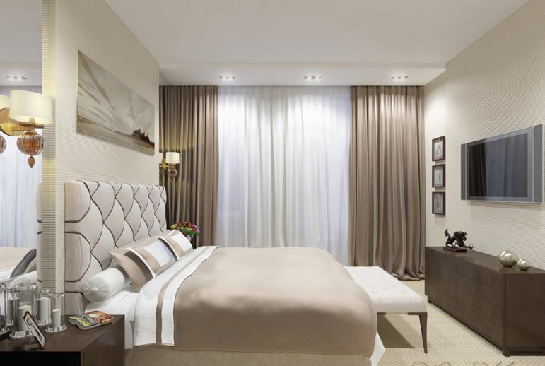 Практичное расположение кровати в спальне