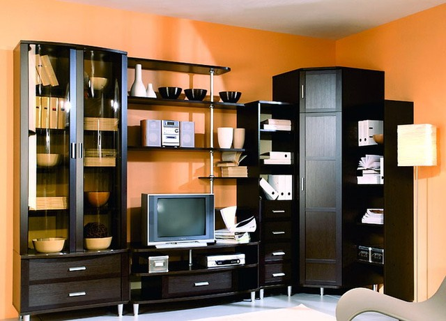 Пример оформления интерьера гостиной с мебель в современном стиле