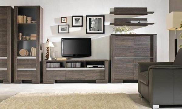 Пример оформления корпусной мебели в современном направлении для гостиной
