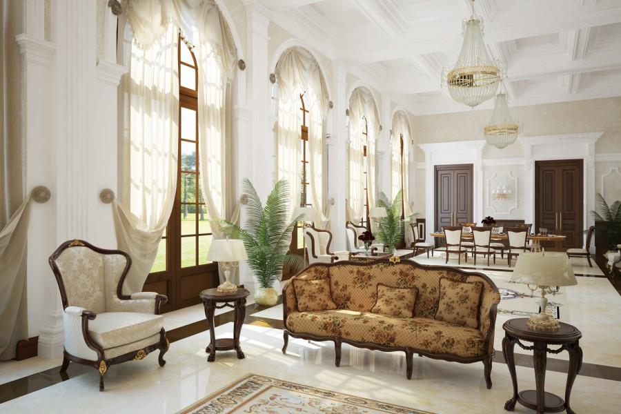 Привлекательная мебель в гостиную классического стиля