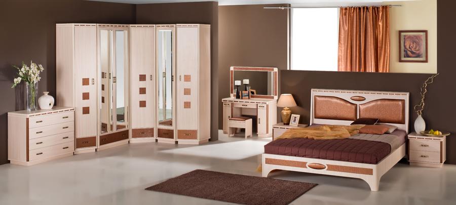 Приятный оттенок модульной мебели для спальни