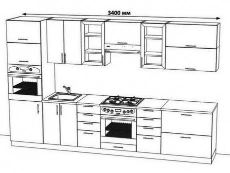Проект кухонного гарнитура линейного типа