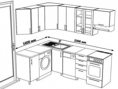Проект кухонного гарнитура уголового типа