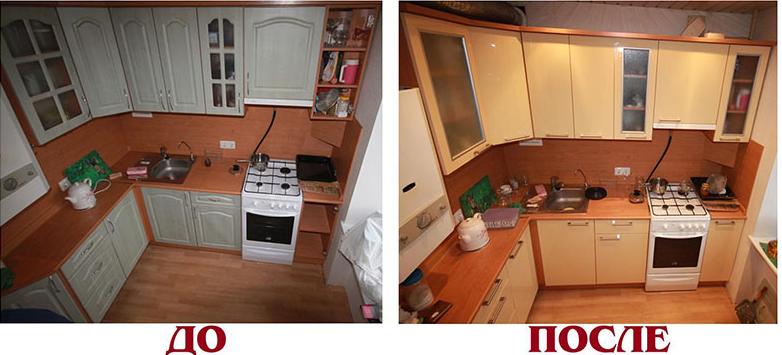 Проведенная реставрация кухонного гарнитура