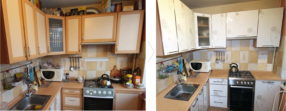 Проведенная замена фасада кухни