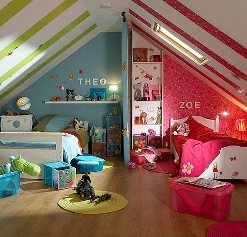 Расположение мебели в комнате, предназначенной для двух детей