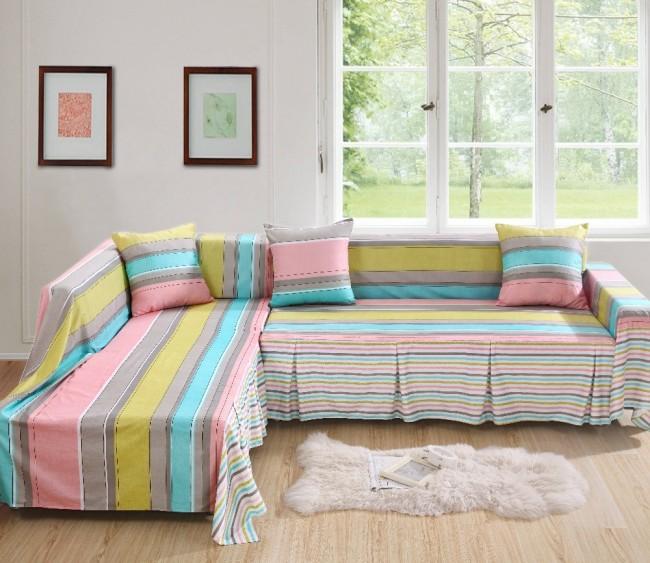 Разноцветные безразмерные чехлы на мебель