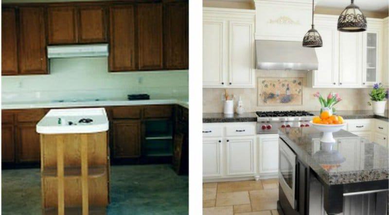Результат реставрации мебели на кухне