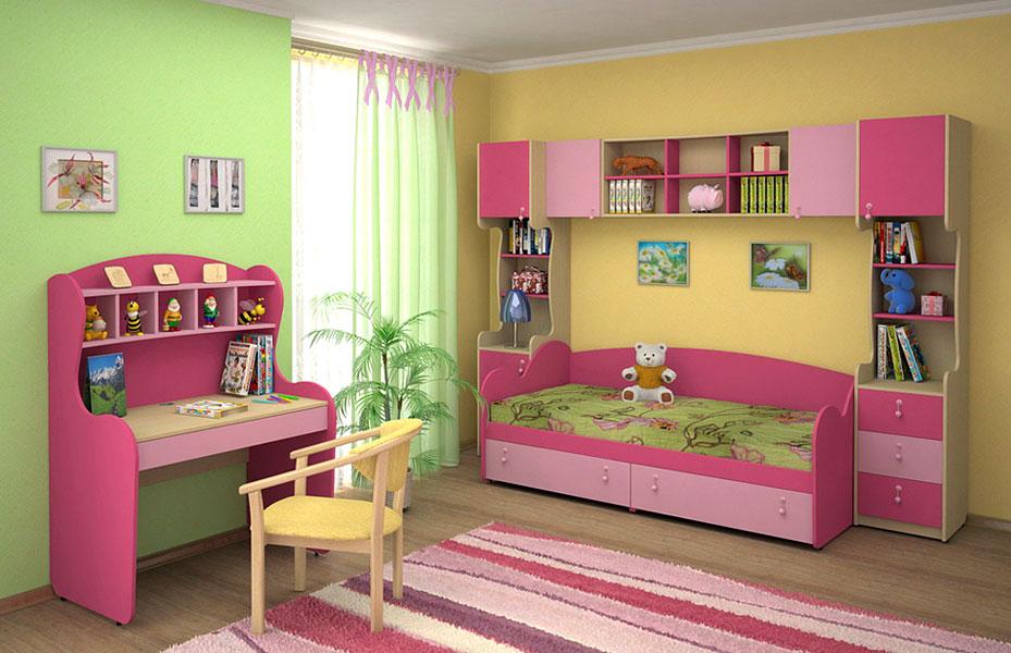 Розовая мебель для детской спальни