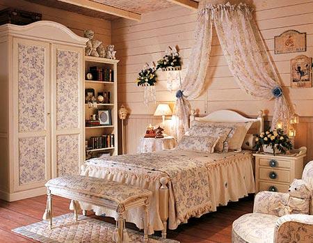 Розовая мебель для спальни в стиле прованс